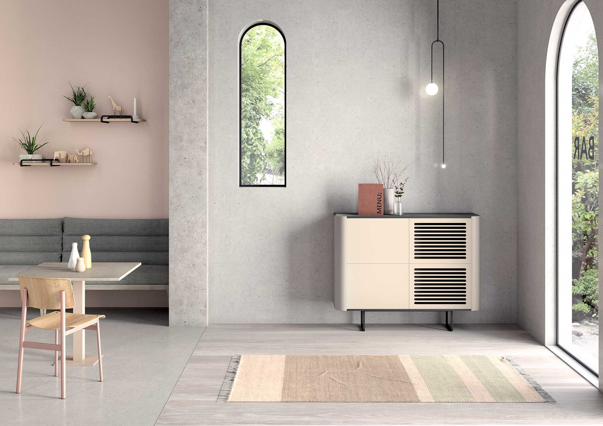 Colección Adara - Mueble Apilado con puerta ranurada
